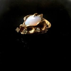 Opal Gold Rhinestone Orchid 1970s Statement Ring